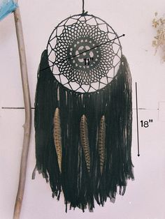 - Made to order! -   Large black #dreamcatcher   Handmade of metal hoop wrapped with cotton fabric, crochet  cotton doily,…