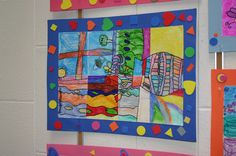 2nd grade art- one week draw picture, second week cut up and color each section, one at a time. Some sections markers, some crayons, etc.