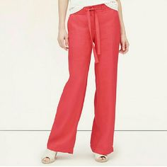 LOFT red linen pants - NWT! These are brand new and never worn linen pants from LOFT with the tags attached. LOFT Pants Wide Leg
