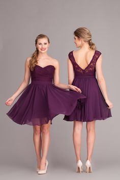 Mix and match these lace and chiffon bridesmaid dresses for a unique, mismatched look! Featured in Eggplant. | Kennedy Blue Camilla and Ashton | 2015 Spring Bridesmaid Collection