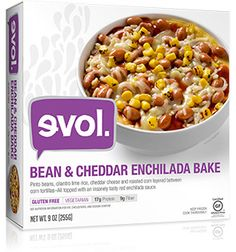 EVOL Bean&Cheddar Enchilada Gluten Free • Vegetarian • 17g Protein • 9g Fiber  Pinto beans, cilantro lime rice, cheddar cheese and roasted corn layered between authentic corn tortillas–All topped with an insanely tasty red enchilada sauce.