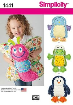 Simplicity 1441 Cotton flannel Rag Quilted animal pillows a butterfly, frog, penguin and bird pillow Butterfly Pillow, Bird Pillow, Sewing Toys, Sewing Crafts, Rag Quilt Patterns, Crochet Patterns, Animal Cushions, Sewing Stuffed Animals, Sewing Pillows