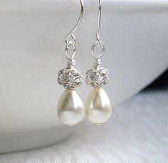 Ivory Bridesmaid Jewelry Ivory Earrings Teardrop by LaurinWedding, $10.00