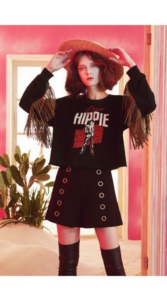 b28b73e32ae8 BLACK LOOSE Sweatshirt Top Blouse with Tassels