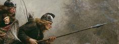Fargefoto av maleriet Birkebeinerne over Filefjell av Knud Bergslien. To menn på ski utstyrt med våpen. Den bakerste bærer eit barn inntil kroppen. Foto: O. Væring