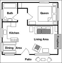 plans cabin floor tiny house one room cabins apartment small cottage The Plan, How To Plan, Br House, Tiny House Living, Small Room Design, Tiny House Design, Small House Plans, House Floor Plans, Small Floor Plans