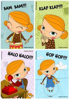"""Dzisiaj mamy już 16 część """"Ćwiczenia na za…mówienie"""", w związku z tym przedstawiamy 16 fantastycznych kart do ćwiczeń dźwiękonaśladowczych. Karty zostały zaprojektowane wraz z... Learn Polish, Sequencing Pictures, Adult Cartoons, Therapy Tools, Cute Little Girls, Cartoon Kids, Speech And Language, Cute Illustration, Speech Therapy"""