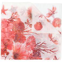 Roberto Cavalli sea creature scarf (38855 RSD) ❤ liked on Polyvore featuring accessories, scarves, white, white scarves, roberto cavalli scarves, white shawl and roberto cavalli