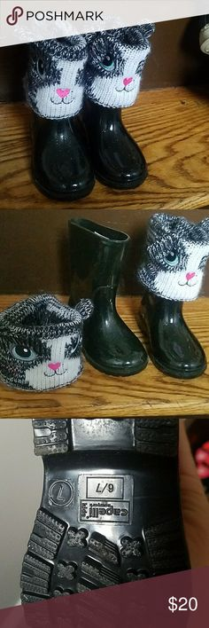 Toddler rain boots kitty cat sz 6/7 toddler Worn a handful of times  Very cute & warm upper sock area Very good condition Shoes Rain & Snow Boots