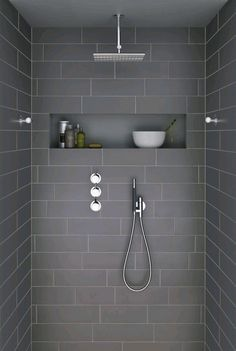 Ideas For Bathroom Remodel Grey And White Shower Niche Grey Bathroom Tiles, Grey Bathrooms, Laundry In Bathroom, Beautiful Bathrooms, Modern Bathroom, Grey Tiles, Master Bathroom, Bathroom Storage, Modern Shower