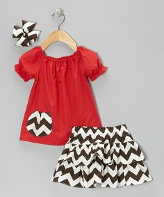 Take a look at this Molly Pop Inc. Red & Brown Zigzag Ruffle Skirt Set - Infant, Toddler & Girls on zulily today!