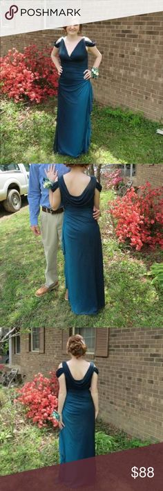 Prom dress I have a beautiful blue green color prom dress for sale! The dress has sparkles and many beautiful draping details! I paid over 320! I am saleing for 70 or best offer! Dresses Prom