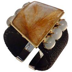 Michael Kneebone Rutilated Quartz Moonstone Stringray Cuff Bracelet | 1stdibs.com