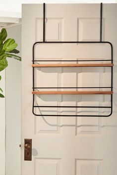 Over-the-Door Tiered Storage Rack - black at Urban Outfitters Small Apartment Storage, Small Apartment Living, Apartment Ideas, Door Rack, Hanger Rack, Door Shelves, Door Storage, Bathroom Doors, Bathroom Storage