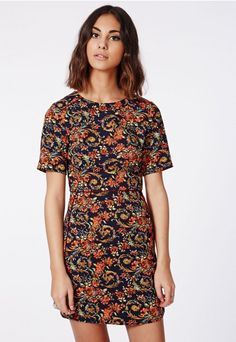Molly Shift Dress Navy Floral - Dresses - Shift Dresses - Missguided