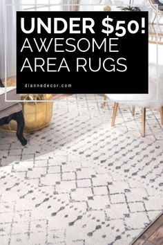 There's no denying an area rug can make a huge difference to the overall look of your room. Here are 20 awesome area rugs under $50.    #arearugsunder50 #arearugs #cheaparearugs #homedecorating #homedecor #decoratingonabudget