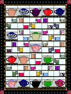 Such cute qult blocks. All are free to download. quilt paper foundation pieced cups in a window pfp