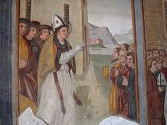 Simone II Baschenis - Storie di San Vigilio - affresco - 1539 - abside Chiesa di San Vigilio a Pinzolo (Trento, Italia)