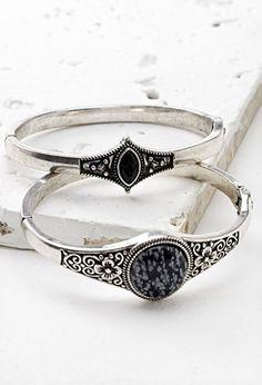 Faux Stone Hinge Bracelet Set   Forever 21   #f21accessorize