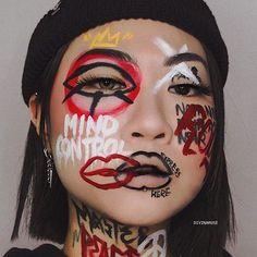 Edgy Makeup, Eye Makeup Art, Sfx Makeup, Crazy Makeup, Cute Makeup, Makeup Inspo, Makeup Inspiration, Beauty Makeup, Makeup Drawing