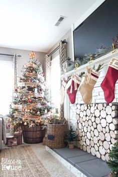 Woodland Christmas Home Tour 2015 Part 1 | blesserhouse.com | faux fireplace and barrel tree stand