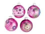 """Set of 4 Dazzling Pink Snowflake Design Glass Ball Christmas Ornaments 3"""" (75mm). Set of 4 Glass Ball Christmas Ornaments Item #058480Ball ornaments are decorated with a dazzling snowflake design with glitter and gem accents Comes equipped with a silver metal ornament caps (ornament hooks are not included)Dimensions: 3"""" diameter (75mm) Material(s): glass/metal Type: Decorations Occasion: Christmas Color: Pink Mapping: Null. Price: $29.99"""
