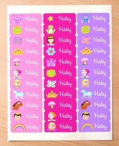 Princess Personalized Rectangle Waterproof Labels
