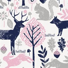 """Bubblegum Pink and Navy Woodland Animals Fabric by Carousel Designs.  Bubblegum pink and navy woodland animals fabric printed on antique white background. Fabric is cut to order in one continuous piece. This is a 100% cotton, 54"""" wide, medium weight fabric."""