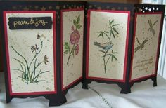 These beautiful art images are from an retired Stampin Up Set that I love thought it would fit the dressing screen beautifully.