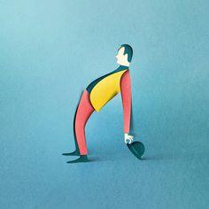 Estonian artist Eiko Ojala creates digital illustrations that have a distinctively minimal, three-dimensional style inspired by paper cut art. Kirigami, Cut Paper Illustration, Digital Illustration, 3d Illustrations, Art Design, Graphic Design, Design Ideas, Eiko Ojala, Art Origami