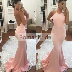 2018 Gorgeous Pink Sleeveless Mermaid Halter Backless Glamorous party dress, long Prom Dress, PD0433