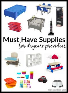Must have supplies for home daycare providers! A list of household gear new child care providers need most of all. Must have supplies for home daycare providers! A list of household gear all new childcare providers need to keep running a daycare easily. Daycare Setup, Daycare Organization, Daycare Design, Kids Daycare, Daycare Ideas, Daycare Forms, Daycare Crafts, Daycare Cubbies, Daycare Decorations