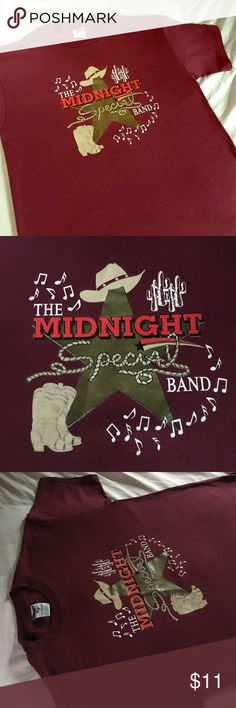 Awesome Midnight Special Band tee A+ burgundy🔑✨ Clean & in fantastic condition. A+ logo light wear & a great dark cranberry/burgundy Large & fresh to 💀 death 😍 Vintage Tops Tees - Short Sleeve