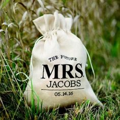 The Future Mrs. Drawstring Bag (Hortense B Hewitt 32412P) | Buy at Wedding Favors Unlimited (http://www.weddingfavorsunlimited.com/the_future_mrs_drawstring_bag.html).
