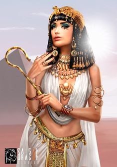 Cleopatra, Saigon Dragon Studios - Cleopatra, the queen of Egypt - Ancient Egypt Fashion, Ancient Egypt Art, Egyptian Fashion, Ancient Egyptian Women, Ancient Artifacts, Ancient Aliens, Ancient Greece, Ancient History, Ancient Egyptian Makeup