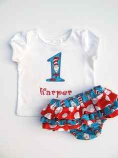 Cat in the Hat Birthday Shirt and Ruffled by FunnyFarmCreations, $37.00