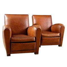 Art Deco Leather Club Chairs, 1930's France