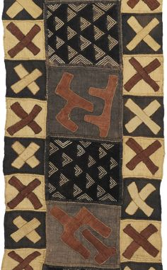 Africa | Detail from Kuba skirt hand woven from the fibers of the Raffia ( Vinifera palm ) | Hand woven in Congo ( formerly Zaire ) by the people of Kuba tribe.