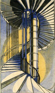 Cyril Power - The tube staircase. 1929 (linocut)