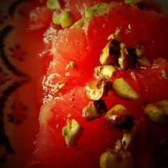 Grapefruit with vanilla infused honey and pistachios.