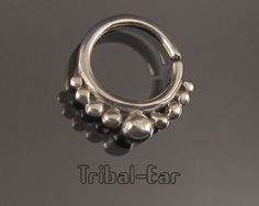 Septum nose ring plain silver piercing ethnic handmade jewelry earrings Tribal Ear 018 de la boutique TribalEar sur Etsy