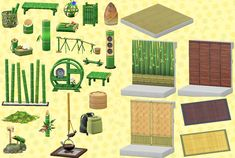 Complete Bamboo set with pictures! : AnimalCrossing Complete Bamboo set with pictures! Animal Crossing Funny, Animal Crossing Guide, Animal Crossing Characters, Animal Crossing Qr Codes Clothes, Animal Games, My Animal, Ac New Leaf, Motifs Animal, Garden Animals
