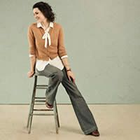 What could be more chic than a wide-leg flares, a bow blouse, and a cardigan???