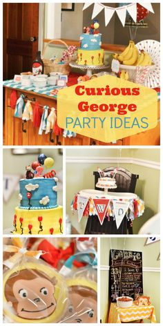 Birthday Party : Image : Description This fantastic Curious George birthday party was done on a budget and has a banana split bar! See more party ideas at Monkey Birthday, Third Birthday, Birthday Fun, Birthday Ideas, Birthday Cakes, Curious George Party, Curious George Birthday, Curious George Cupcakes, 75th Birthday Parties