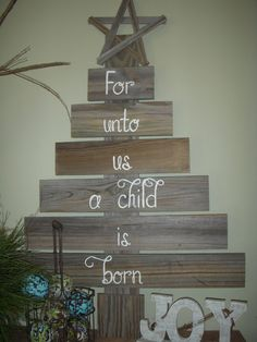 Rustic Reclaimed Wood Christmas Tree by BurlapandLovely on Etsy, $55.00