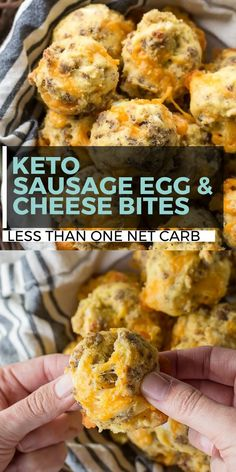 These Sausage Egg and Cheese Bites are the perfect low carb grab and go Keto friendly breakfast option! Perfect for an easy meal prep breakfast! These Sausage Egg and Cheese Bites Ketogenic Recipes, Low Carb Recipes, Diet Recipes, Cooking Recipes, Healthy Recipes, Slimfast Recipes, Recipes Dinner, Soup Recipes, Smoothie Recipes