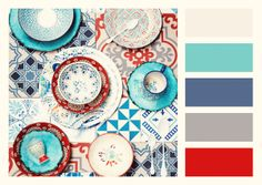 Color pop -- aqua, blue, red, gray, ivory