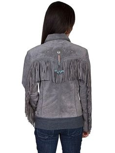 A Scully Ladies' Leather Suede Jacket: Womens Western Full Size Frontier Fringe Grey W/1X-W/3X