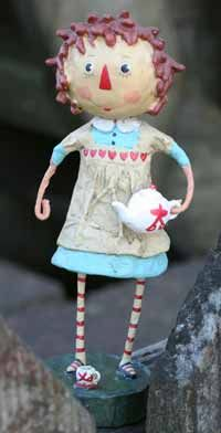AnnieAndy or Annie, a Lori Mitchell design. Who doesn't love Raggedy Anne and Andy?? Here Lori has modeled her design after the much beloved pair, sold individually. This is for Annie, who wears a sweet pinafore and holds a dainty teapot. Cast from Lori's original sculpted artwork, these figurines...