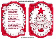 Lovely bracket card front of christmas tree in red on lace with insert on Craftsuprint - View Now!